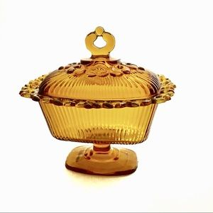 Vintage Amber Glass Candy Dish Lace Rim Lid Boho